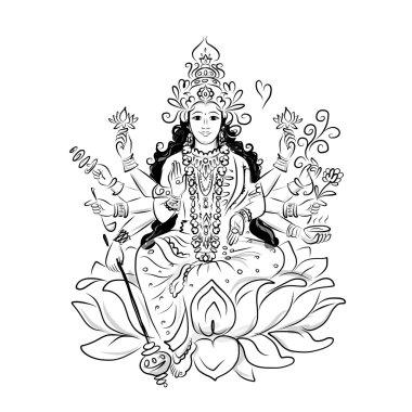 Indian goddess Shakti, sketch for your design. Vector illustration stock vector