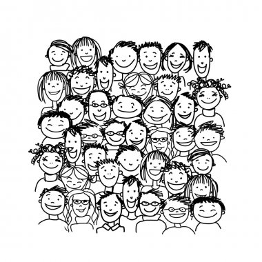 Group of people, sketch for your design. Vector illustration stock vector