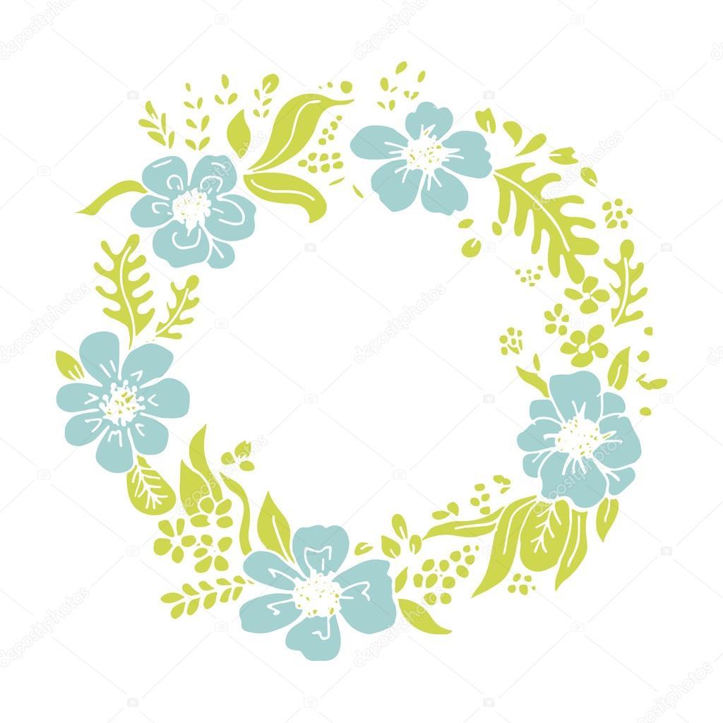 Wheath flores, marco de círculo para su diseño — Archivo Imágenes ...