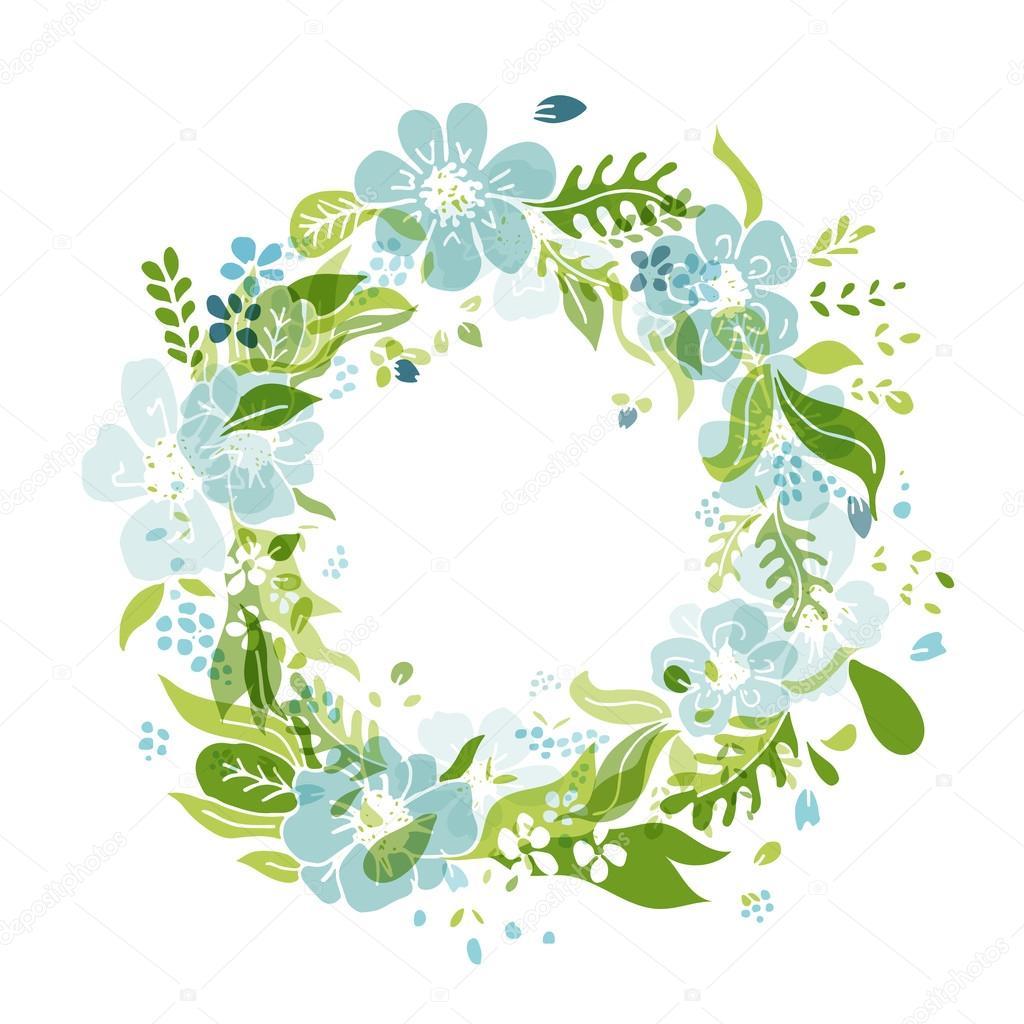 Wheath flores, marco de círculo para su diseño — Vector de stock ...