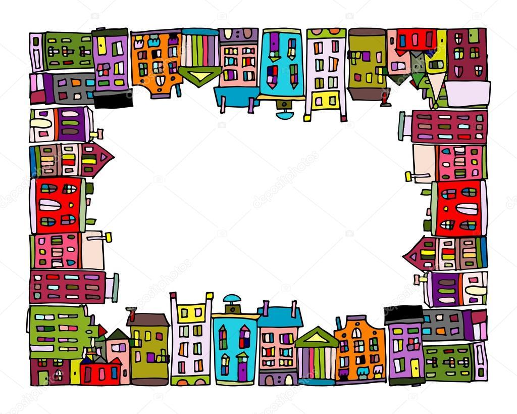 Ciudad Europea, marco para su diseño — Archivo Imágenes Vectoriales ...