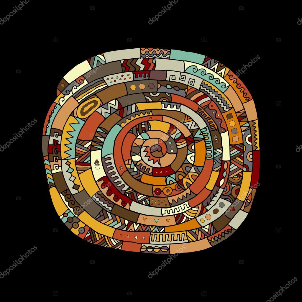 Ethnic spiral mandala, sketch for your design