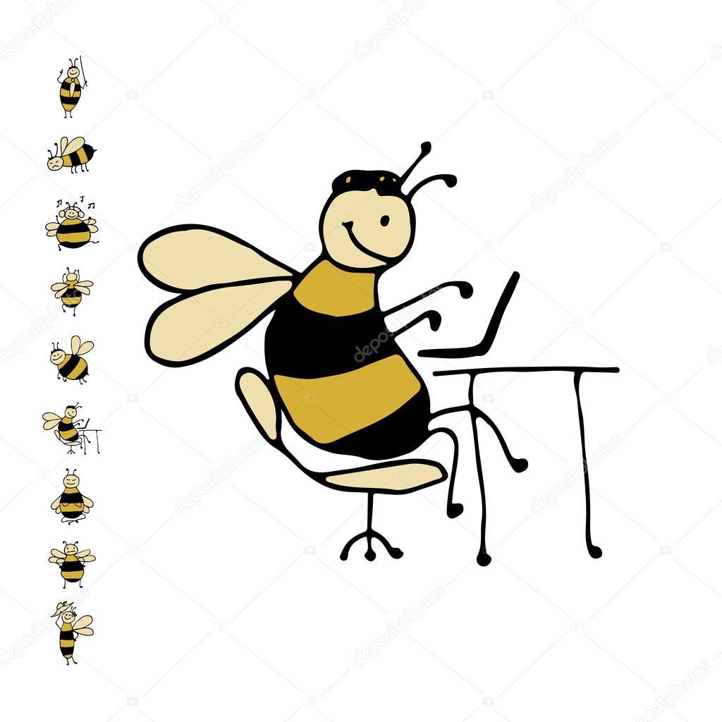 Lustige Büro Biene, Skizze für Ihr design — Stockvektor ...