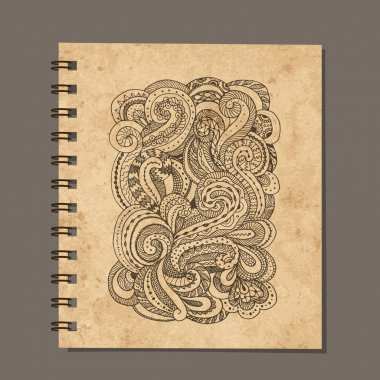 Notebook design, zenart ornament. Old grunge paper