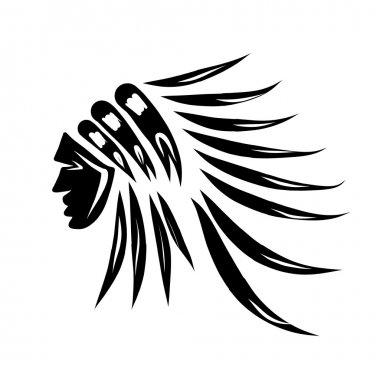Head of indian chief, black silhouette for your design. Vector illustration stock vector
