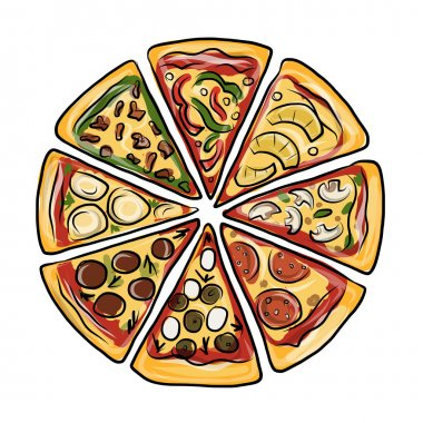 Pieces of pizza, sketch for your design. Vector illustration stock vector