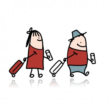 Couple with suitcases and tickets, cartoon