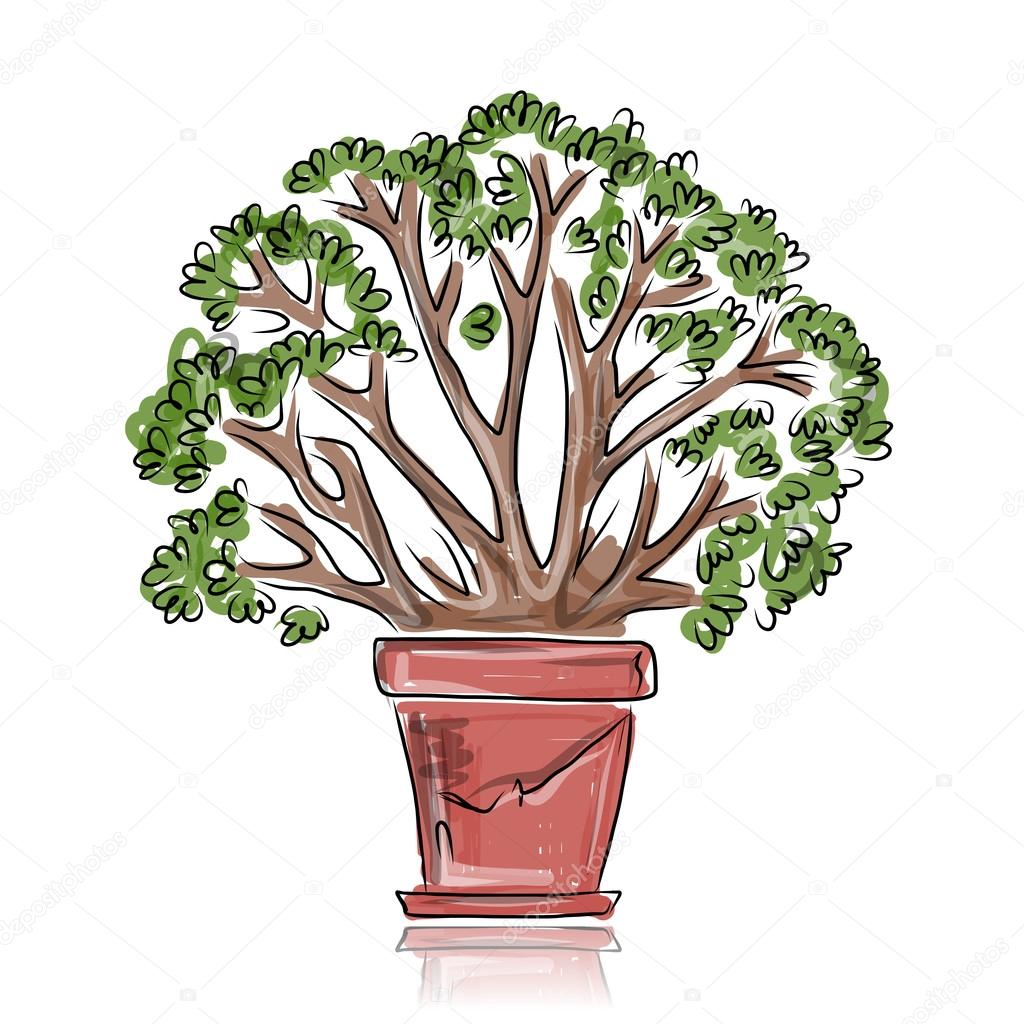 Pot with green tree, sketch for your design
