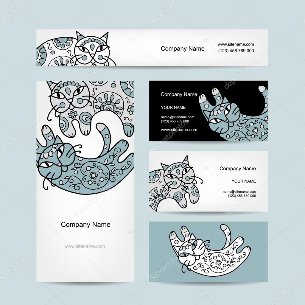 Art cats with floral ornament. Business cards design — Stock Vector ...