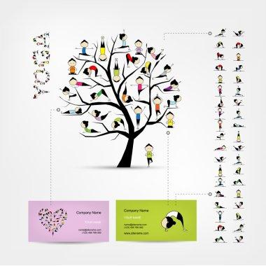 Business cards design, yoga tree