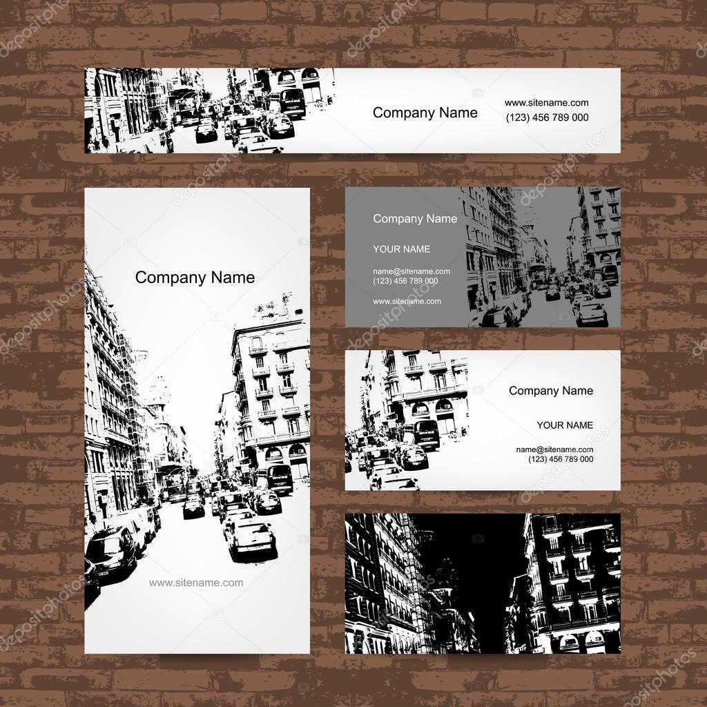 Business card, urban design. Street of Barcelona city — Stock Vector ...