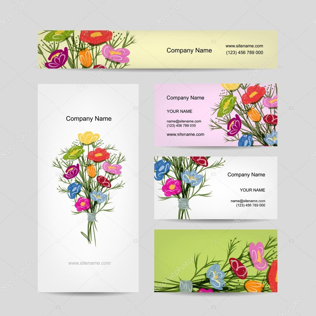 Business cards design, floral bouquet