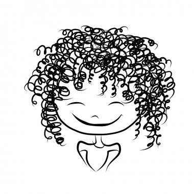 Cute girl smiling, sketch for your design, vector illustration stock vector