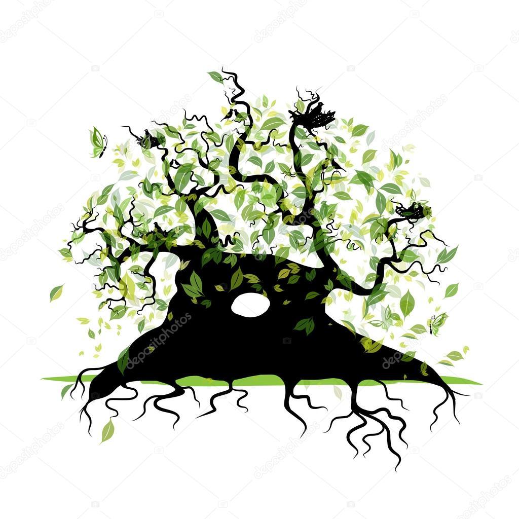 Большое старое дерево с корнями для вашего дизайна ...