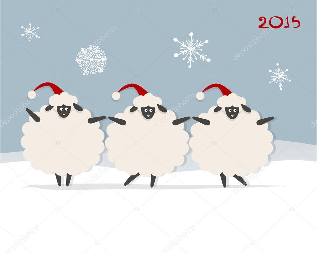 Картинки с новым годом 2015 овцы прикольные