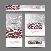 Fényképek Téli város vázlat a design Karácsonyi kártyák
