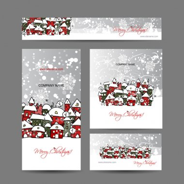 Christmas cards with winter city sketch for your design
