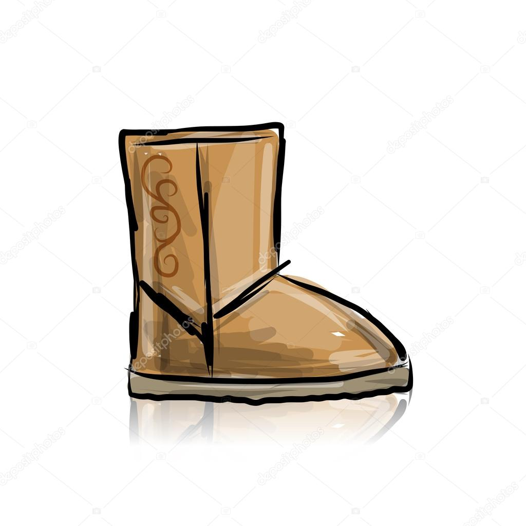 2ecb0431f29 Winter boots ugg, sketch for your design — Stock Vector © Kudryashka ...