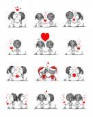 Pár v lásce spolu, valentine skica pro návrh