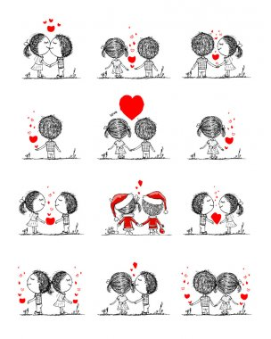 Couple in love together, valentine sketch for your design, vector illustration stock vector