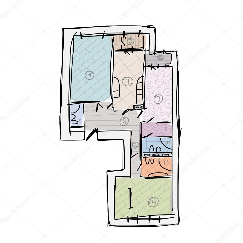 Plano de apartamento sem mob lia esbo o para seu projeto for Plano b mobilia