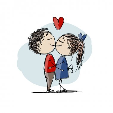 Couple in love kissing, valentine sketch for your design