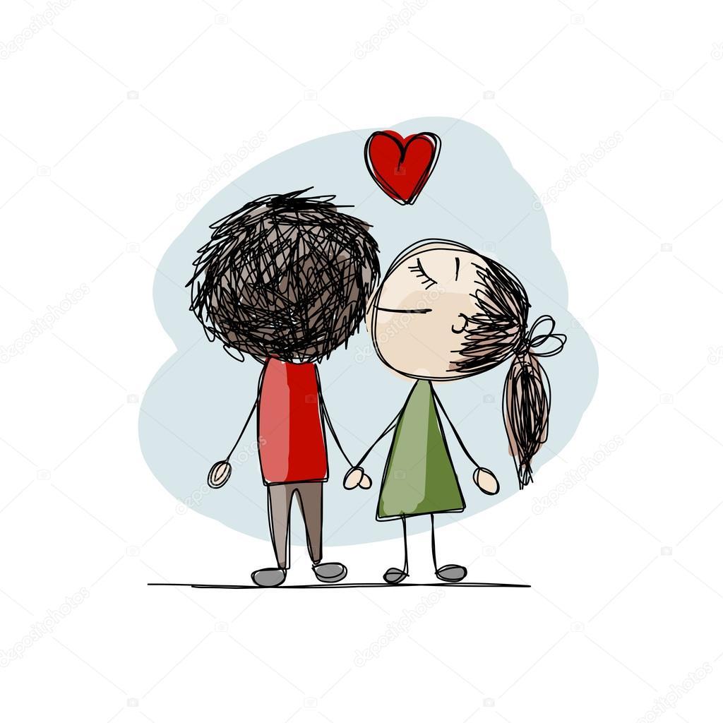 キス愛のカップルは、バレンタインをあなたのデザイン スケッチします