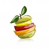 Fotografia Fette di frutta, forma di mela. Schizzo per il vostro disegno