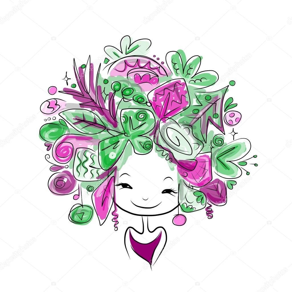 Woman portrait with hairstyle for christmas carnival