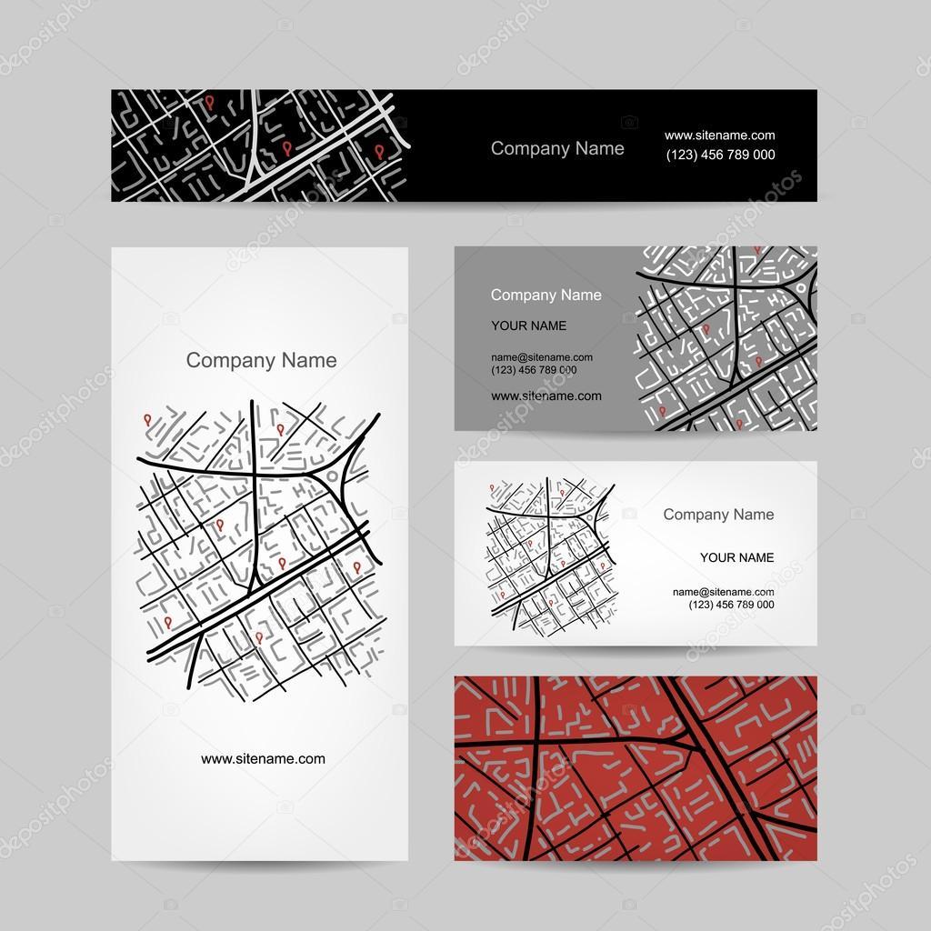 233dd6958df Schets van de plattegrond van de stad, visitekaartje ontwerp — Stockvector