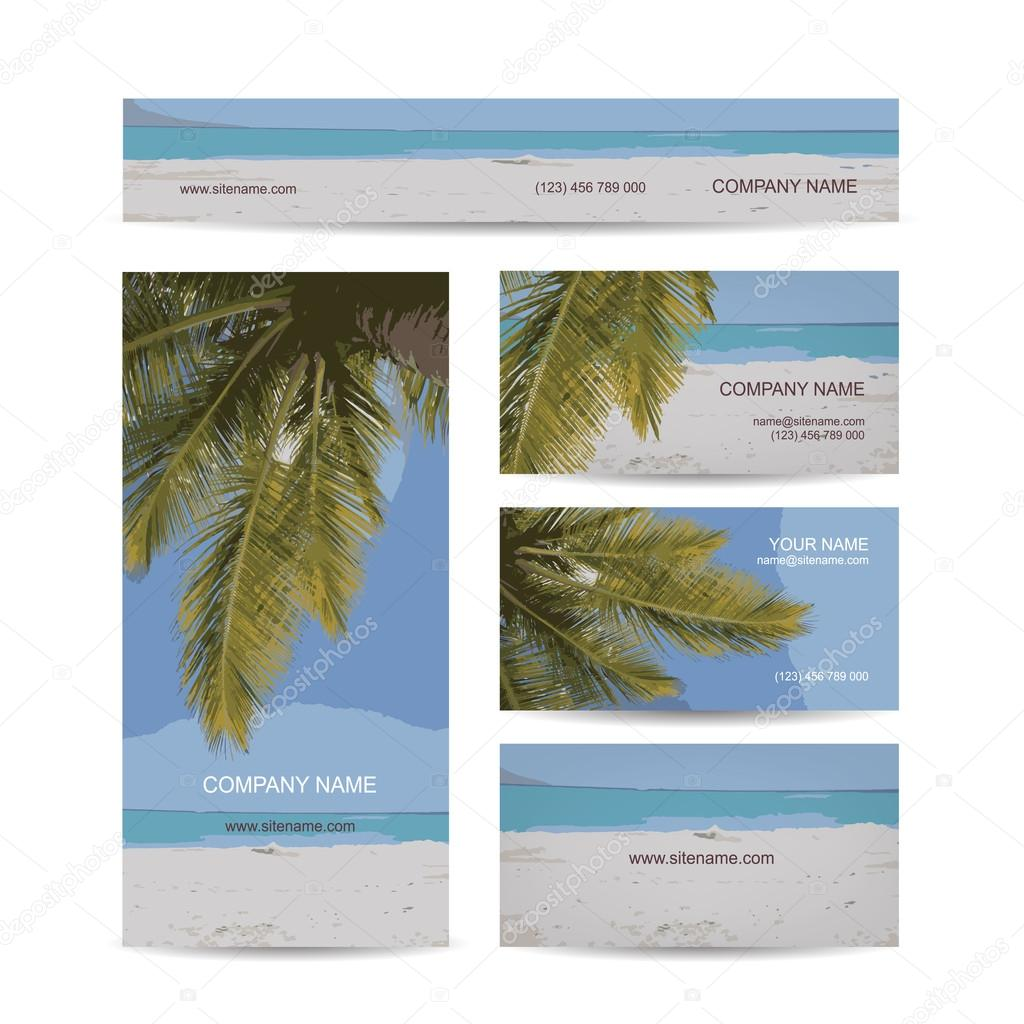 Business cards design, tropical island