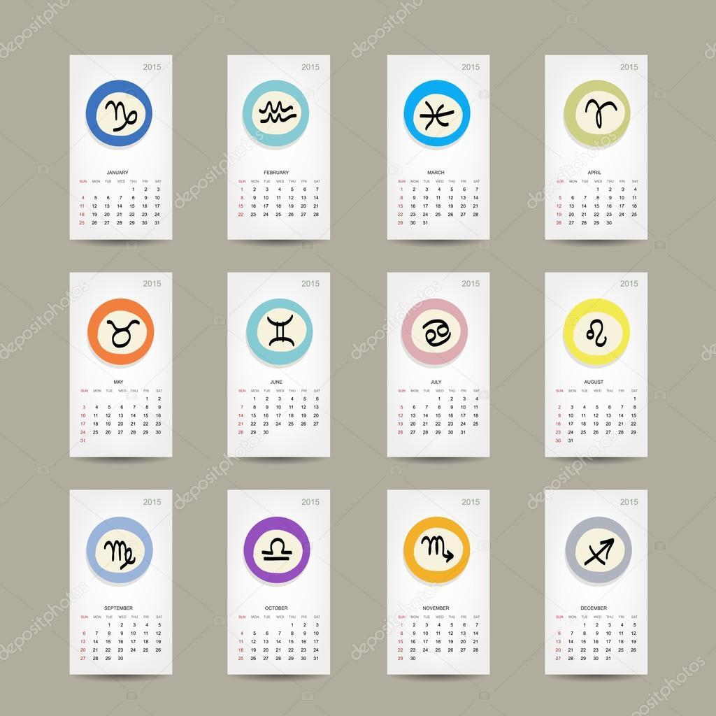 Calendario Zodiacal.Diseno De Cuadricula De Calendario 2015 Signos Del Zodiaco