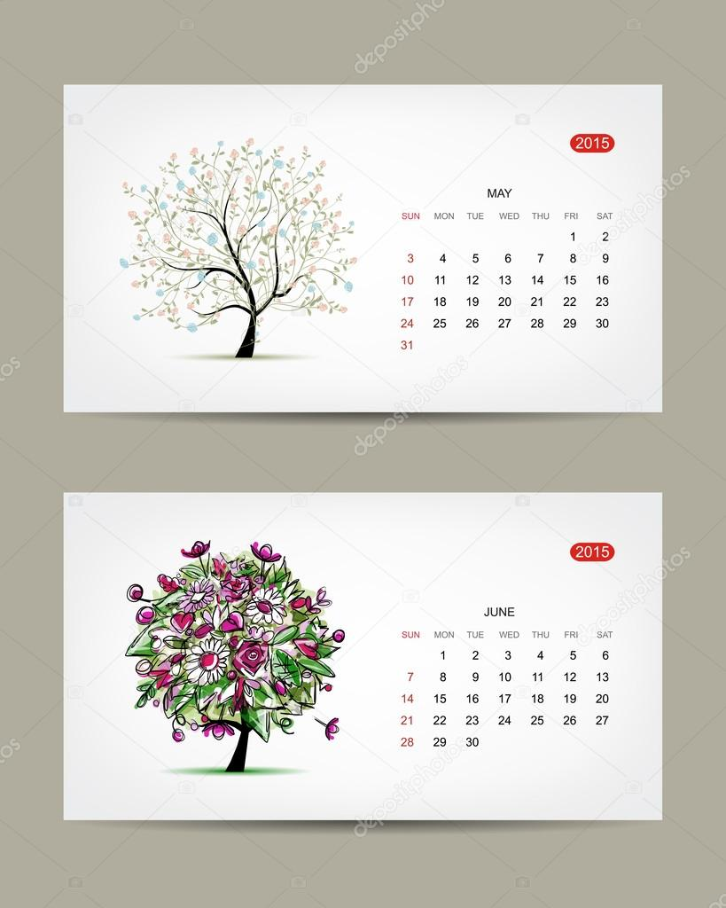 Calendar Month Illustration : Vector calendar may and june months art tree design