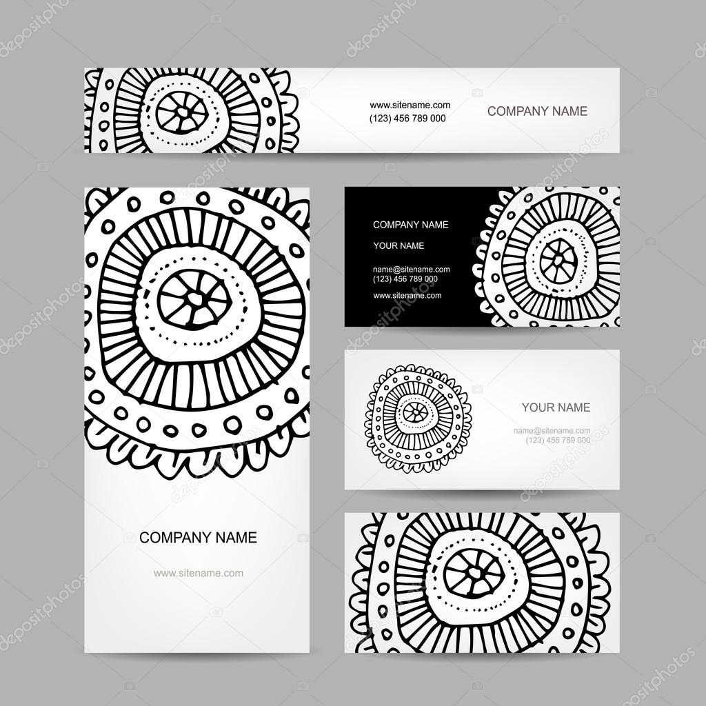 Collection De Cartes Visite Dessin Floral Abstrait Image Vectorielle