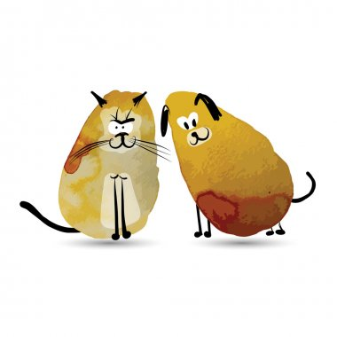 Funny cat and dog. Watercolor sketch for your design. Vector illustration clip art vector
