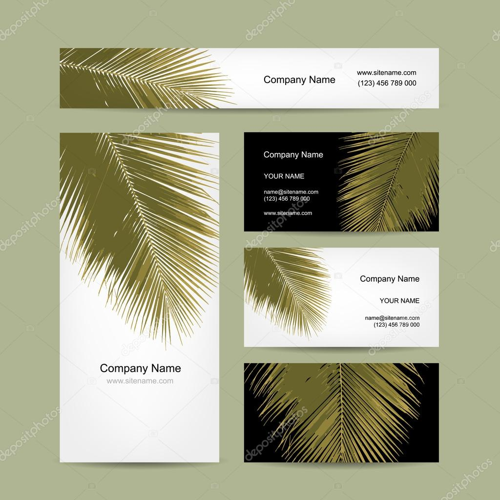 Business cards design with tropical palm leaf