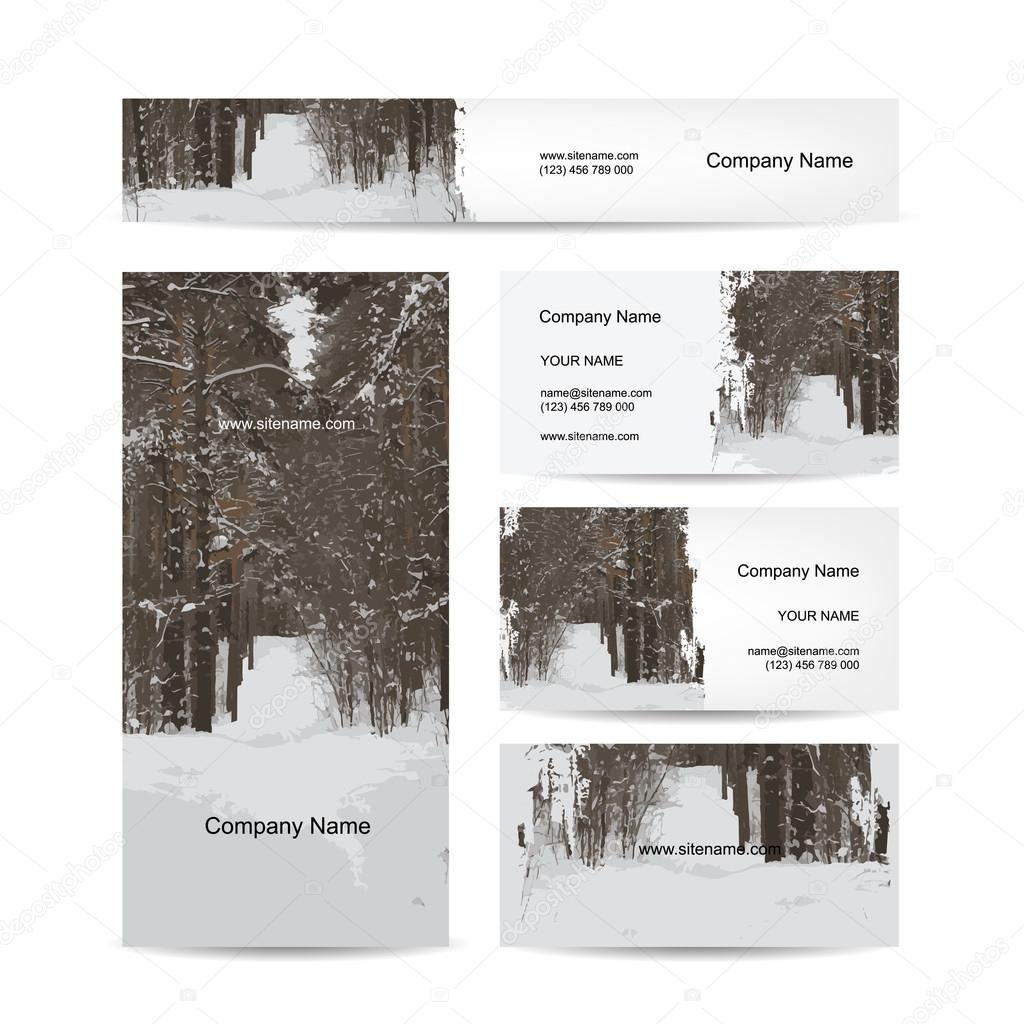Business cards design, winter forest