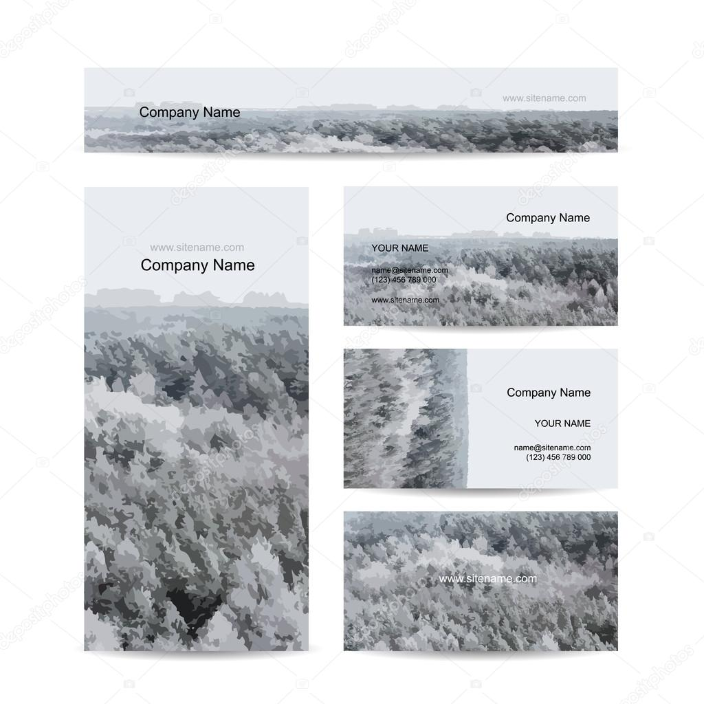 Business cards design, foggy winter forest background