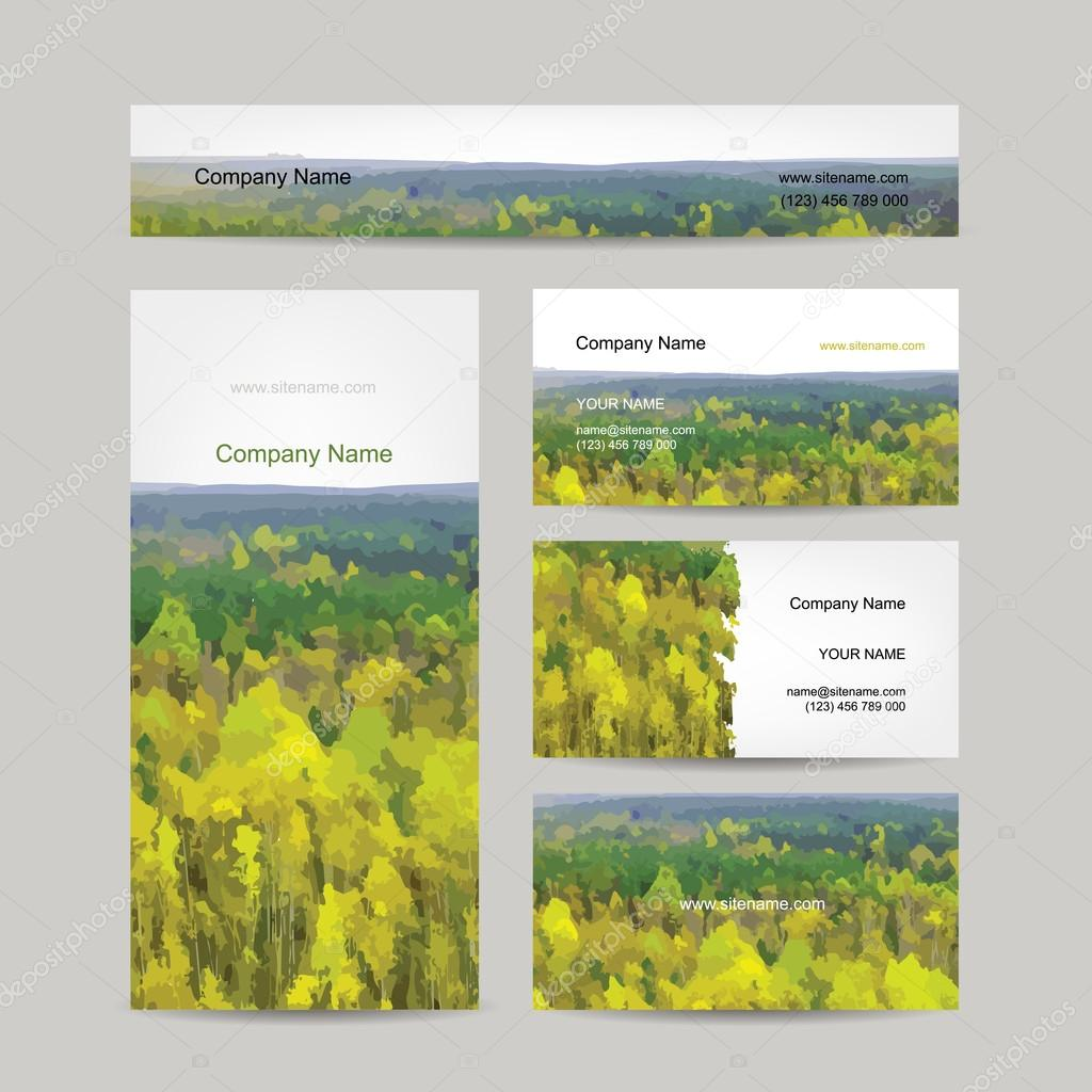 Business cards design, autumn forest background