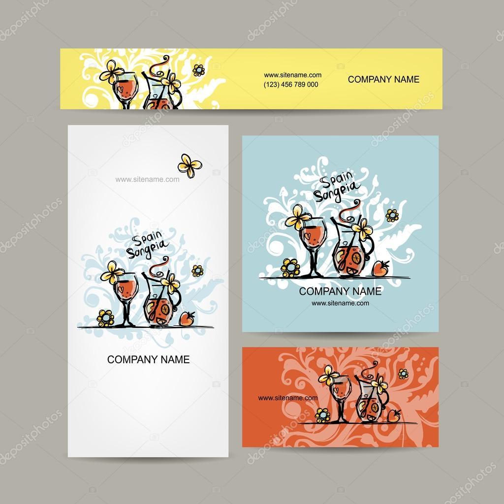 Sangria Boire De Lespagnol Conception Cartes Visite Illustration Stock