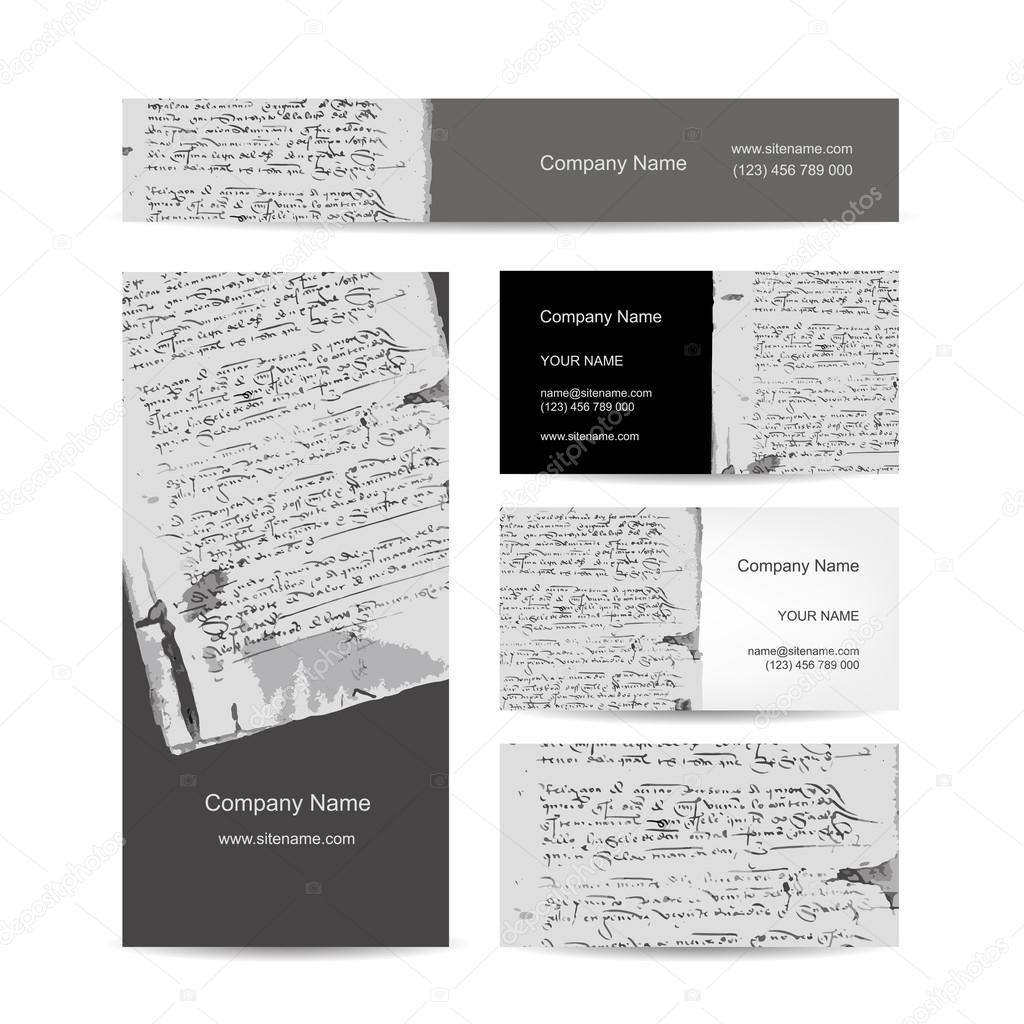 Conception De Cartes Visite Lettre Ancienne Sur Vieux Papier Grunge Illustration Stock