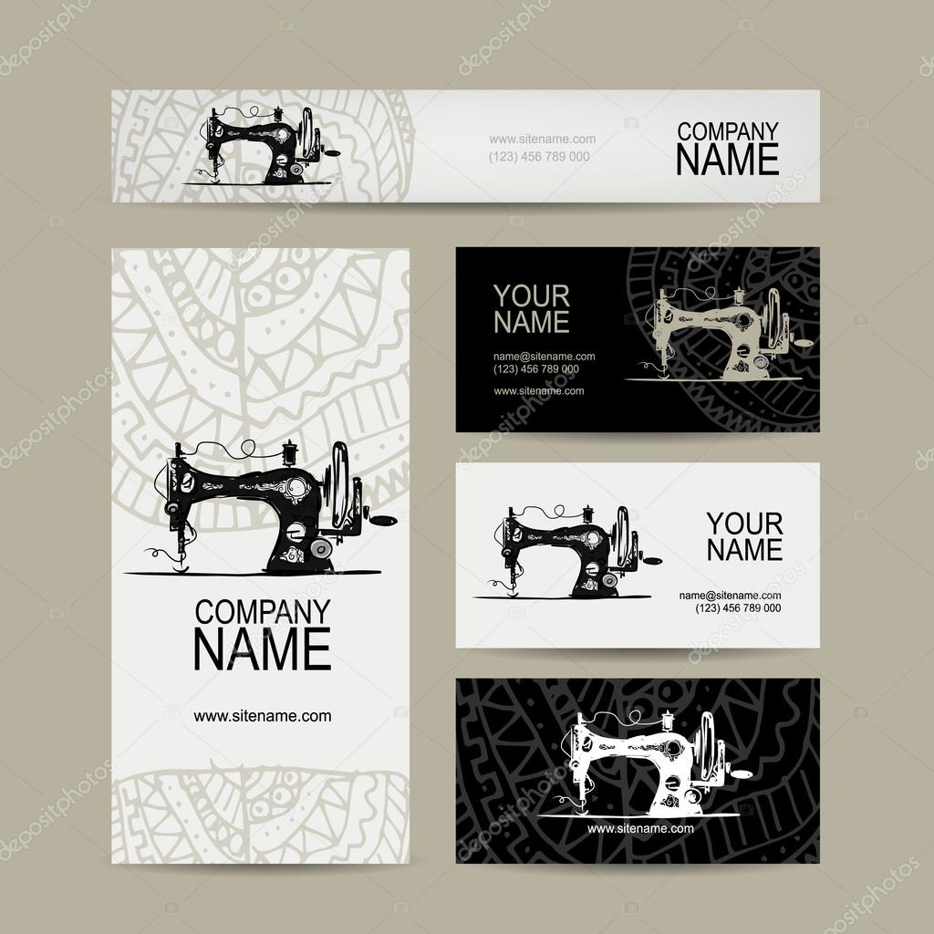Business cards design, sewing maschine sketch — Stock Vector ...