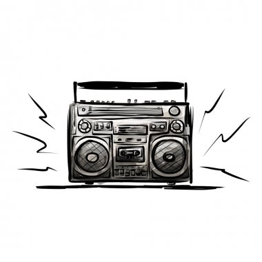 Retro cassette recorder, sketch for your design