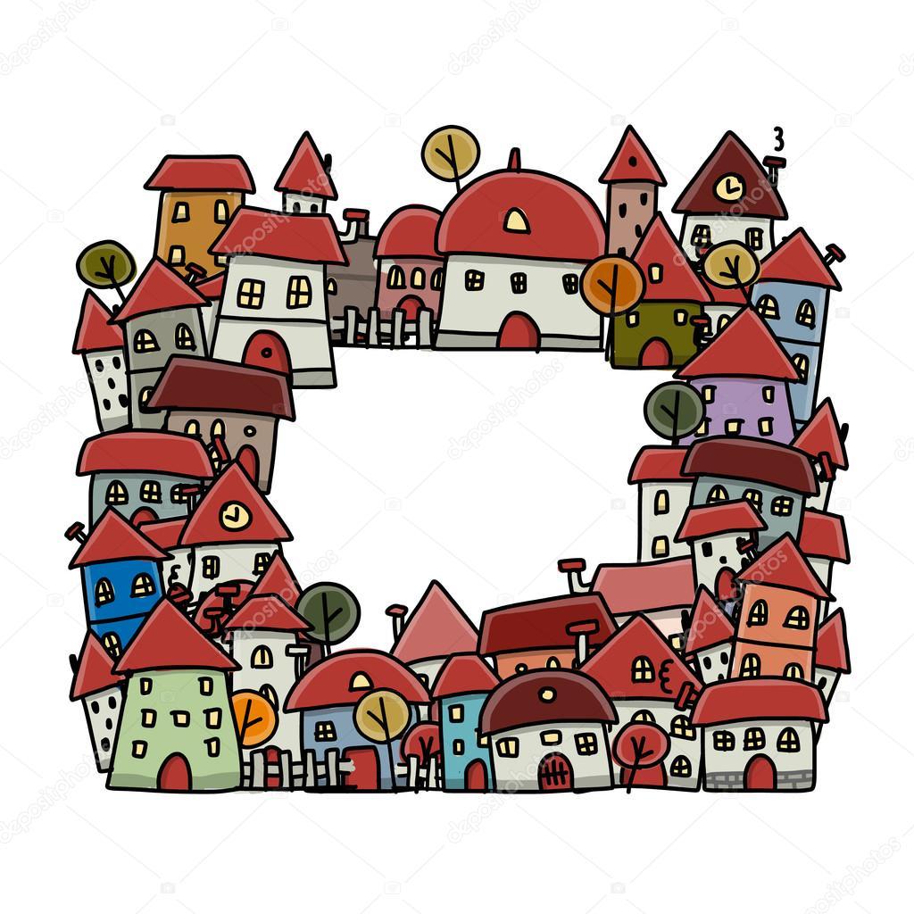 Stadt Skizze, Rahmen für Ihr design — Stockvektor © Kudryashka #84456272