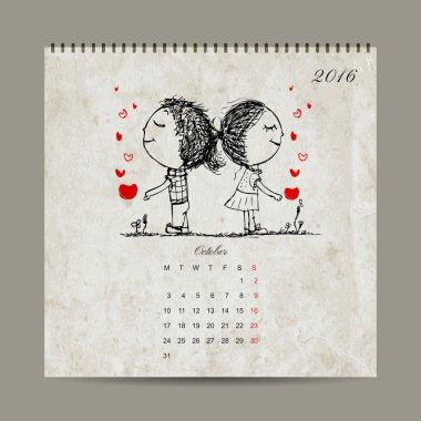 Calendar grid 2016 design, october. Couple in love together
