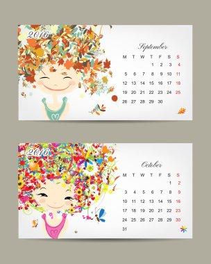 Calendar 2016, september and october months. Season girls design