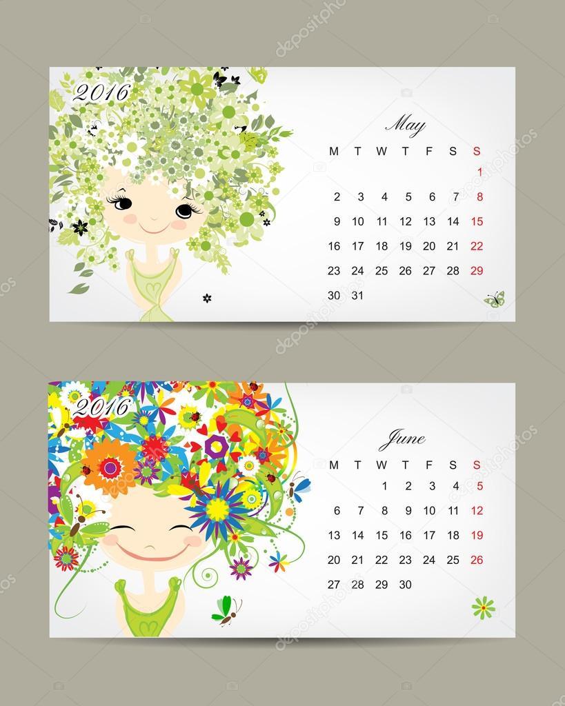 Calendar 2016, may and june months. Season girls design