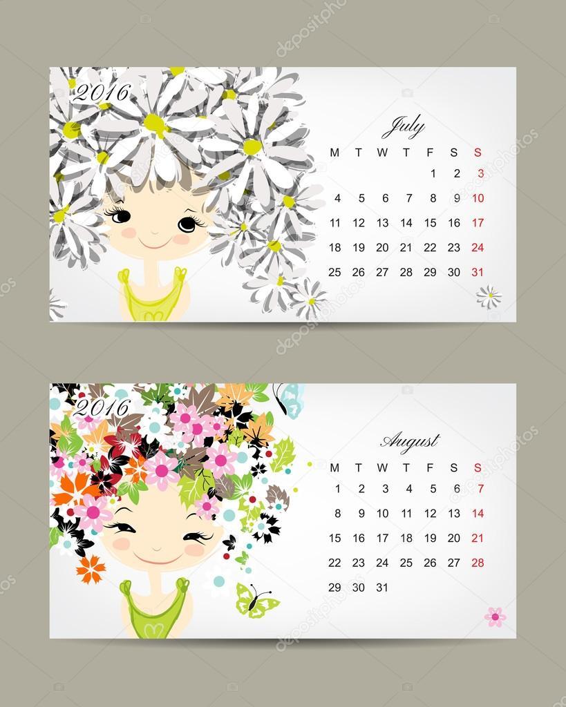 Calendar 2016, july and august months. Season girls design