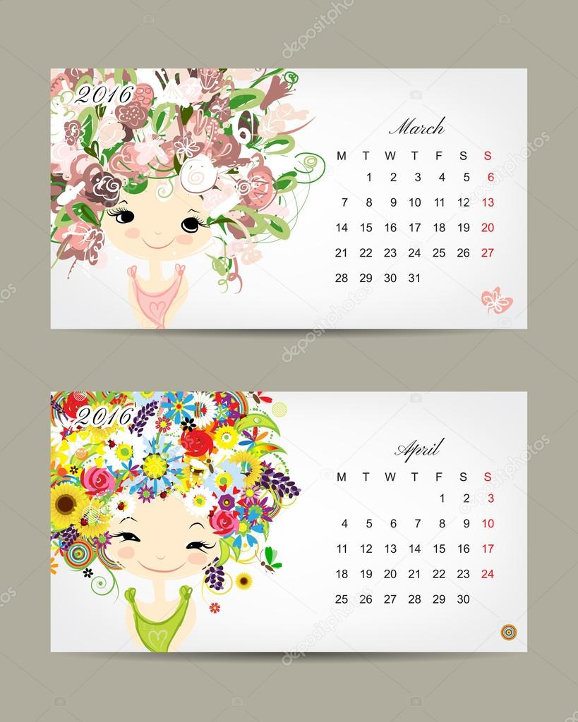 Calendar 2016, march and april months. Season girls design