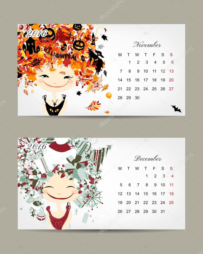 Calendar 2016, november and december months. Season girls design